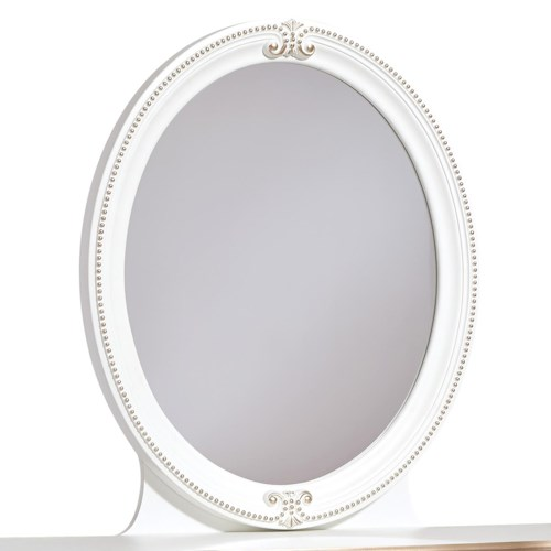 Signature Design by Ashley Korabella Traditional Oval Bedroom Mirror with Rose Gold Highlights