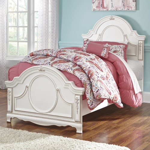 Signature Design by Ashley Korabella Ornate Traditional Twin Panel Bed with Rose Gold Color Highlights