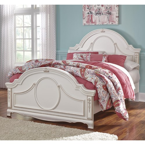 Signature Design by Ashley Korabella Ornate Traditional Full Panel Headboard with Rose Gold Color Highlights