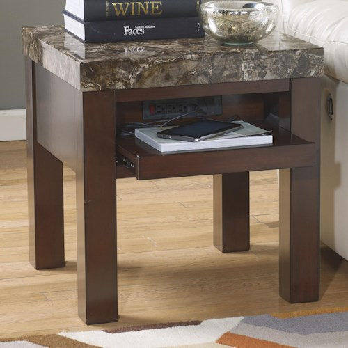 Signature Design by Ashley Kraleene Square End Table with Pull Out Shelf with Outlet & USB Charger