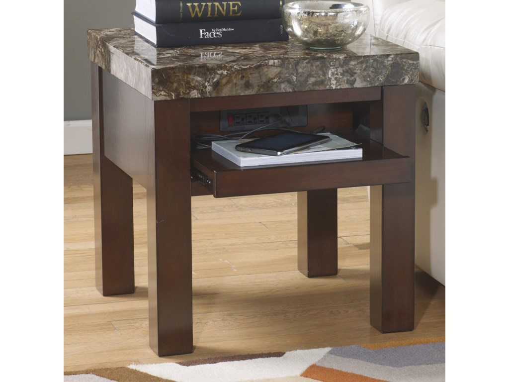 Signature Design By Ashley Kraleene Square End Table With Pull Out