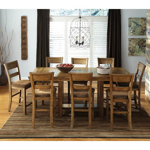 Signature Design By Ashley Krinden 9 Piece Counter Extension Table Set Conlin 39 S Furniture