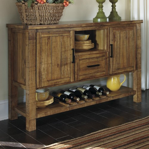 signature design by ashley krinden rustic dining room server with wine rack - Dining Room Server Furniture