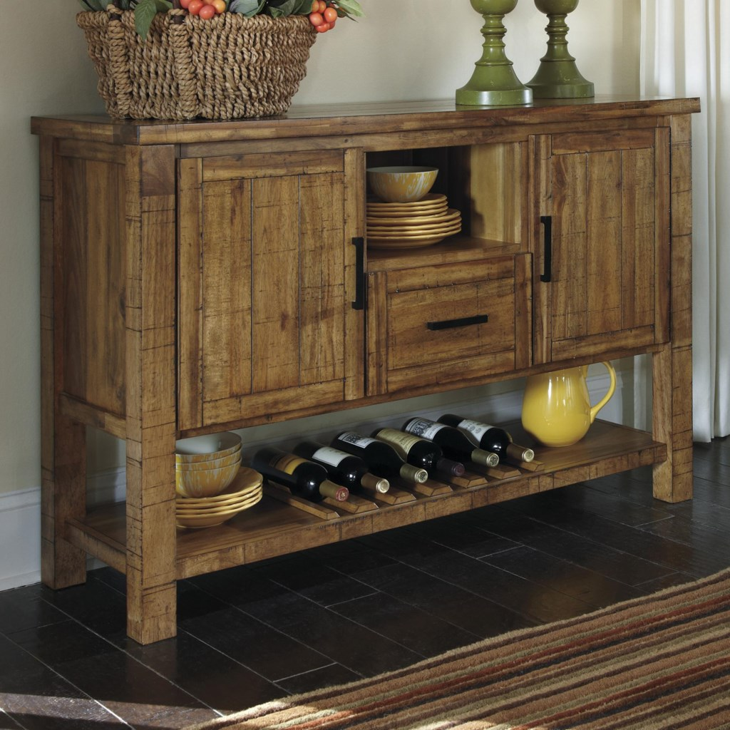farmhouse rustic dining room server with wine rack - ruby-gordon