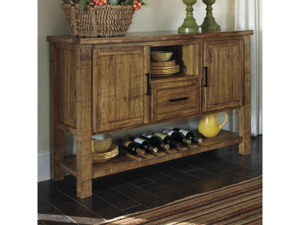 Farmhouse rustic dining room server with wine rack ruby gordon trendz farmhousedining room server dzzzfo