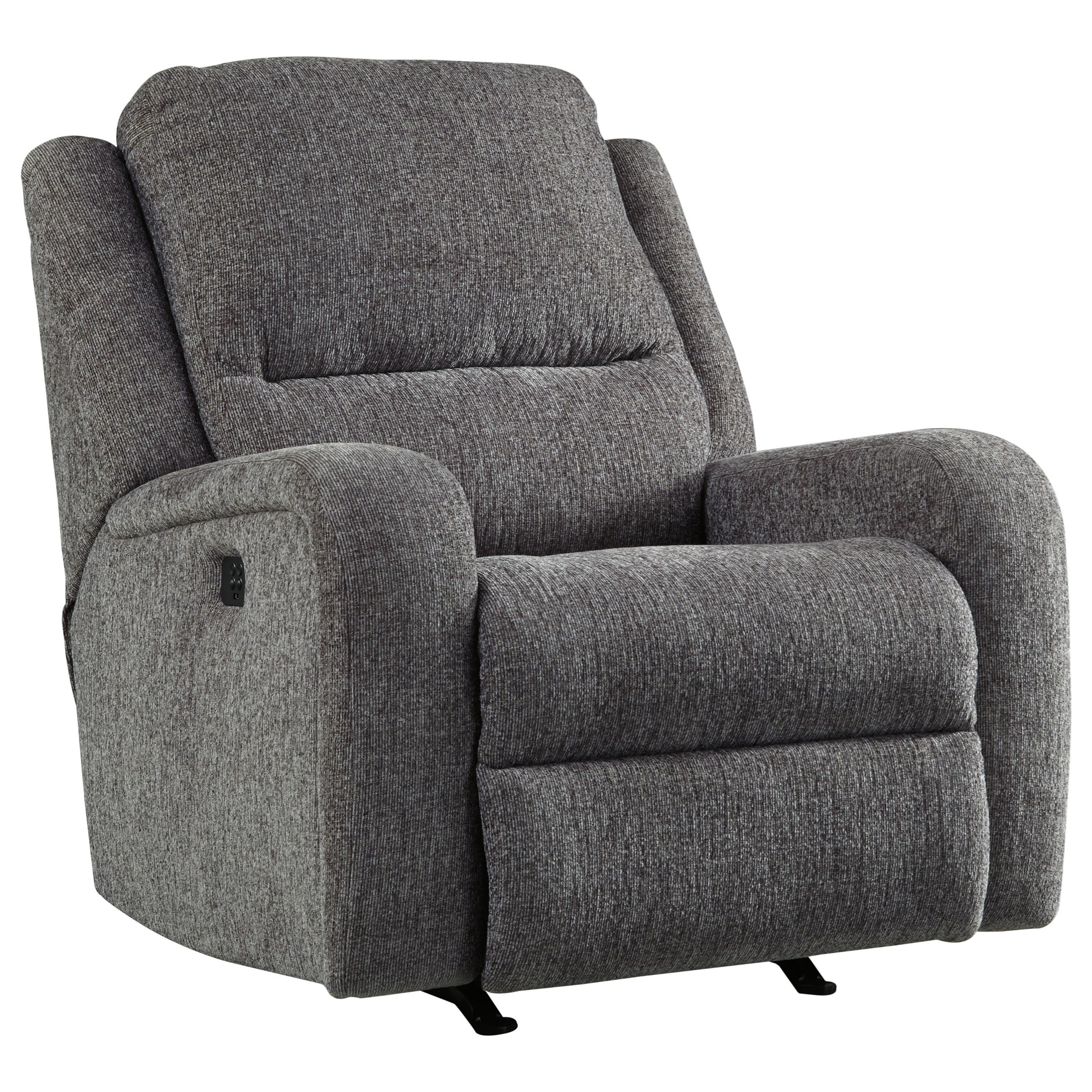 Signature Design by Ashley Krismen Contemporary Power Rocker Recliner w/ Adjustable Headrest ...