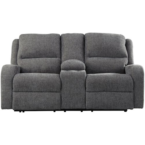 Signature Design by Ashley Krismen Contemporary Power Reclining Loveseat w/ Console & Adjustable Headrest