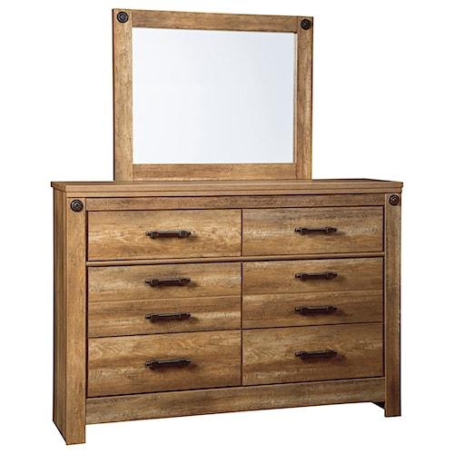 Signature Design by Ashley Ladimier Rustic Look Dresser & Bedroom Mirror