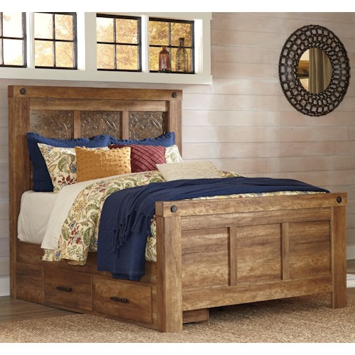 Signature Design by Ashley Ladimier Queen Mansion Bed with Under Bed Storage