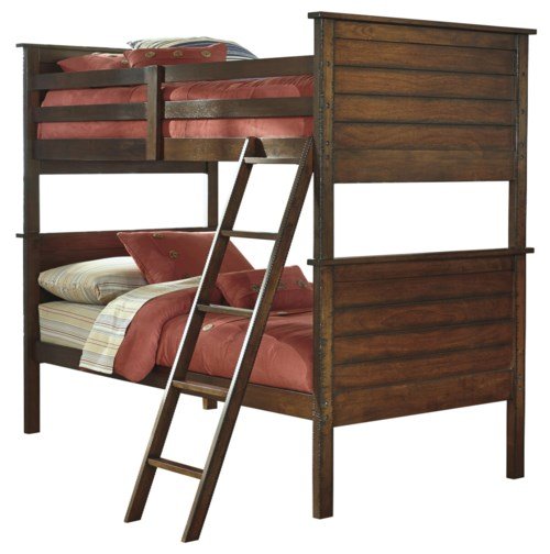 Signature Design By Ashley Ladiville Rustic Twin Twin Bunk Bed L