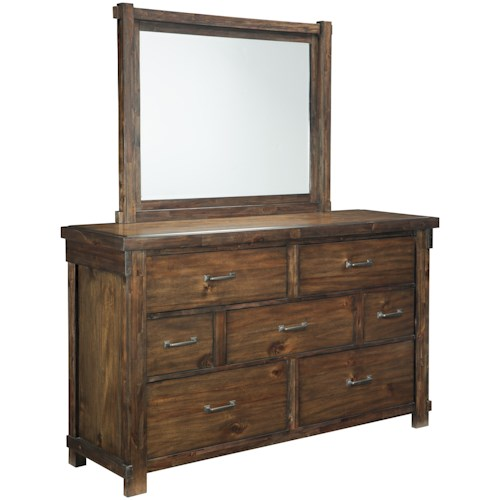 Signature Design by Ashley Lakeleigh Dresser with 7 Drawers & Bedroom Mirror