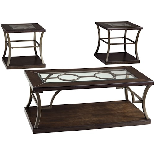 Signature Design by Ashley Lamink Contemporary Metal/Wood Occasional Table Set with Inset Glass Tops