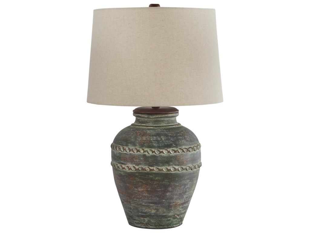 Signature Design by Ashley Lamps - CasualMairead Green Terracotta Table Lamp