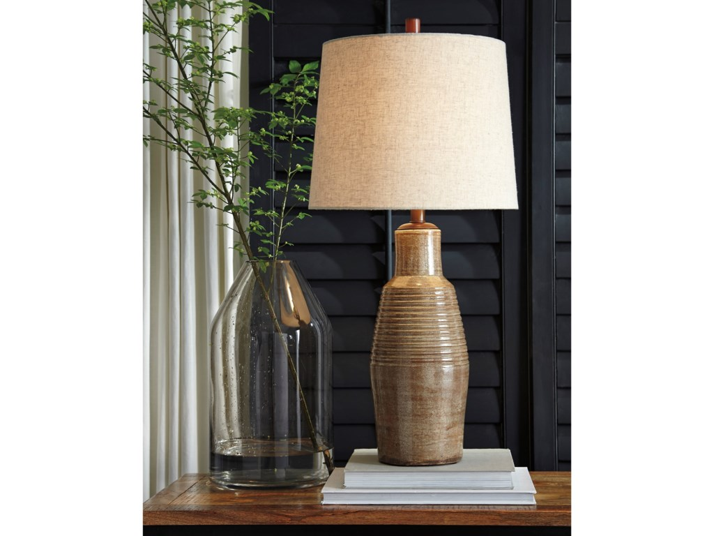 Signature Design by Ashley Lamps - CasualCalixto Terracotta Table Lamp
