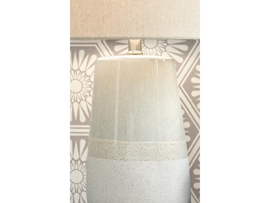 Signature Design by Ashley Lamps - CasualShavon Beige/White Ceramic Table Lamp