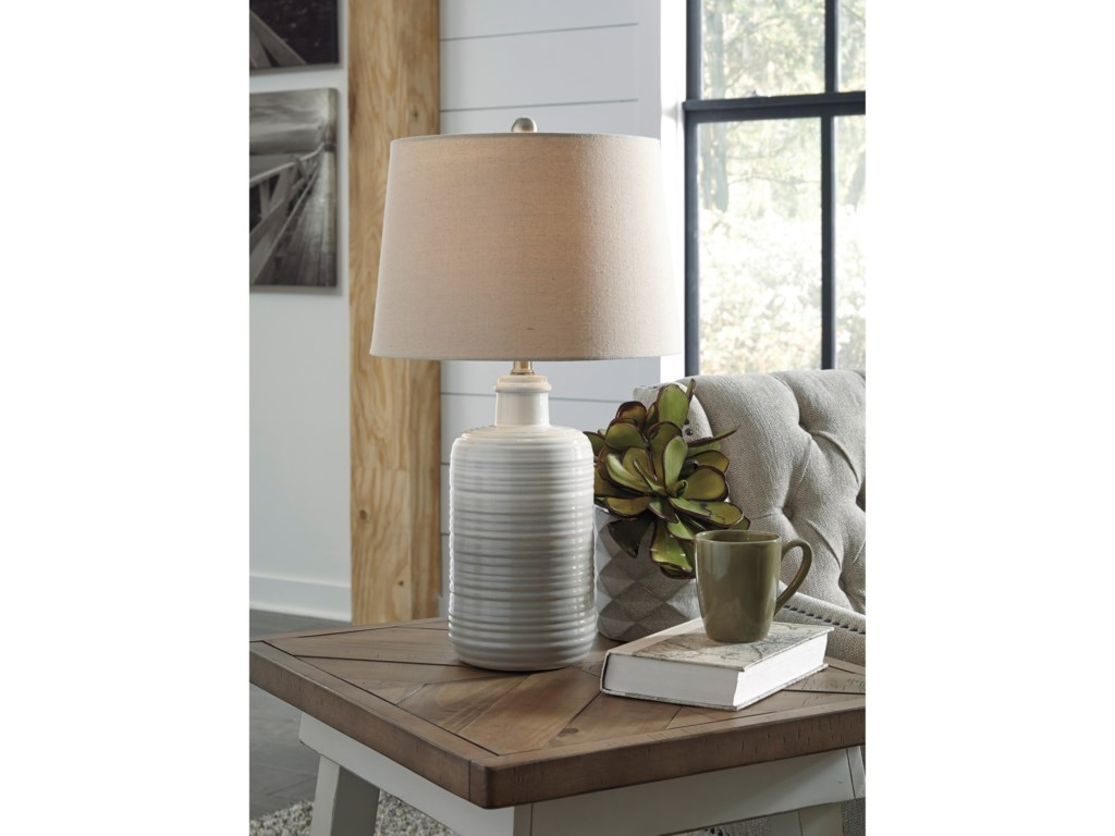 Signature Design by Ashley Lamps - CasualSet of 2 Marnina Taupe Ceramic Table Lamps