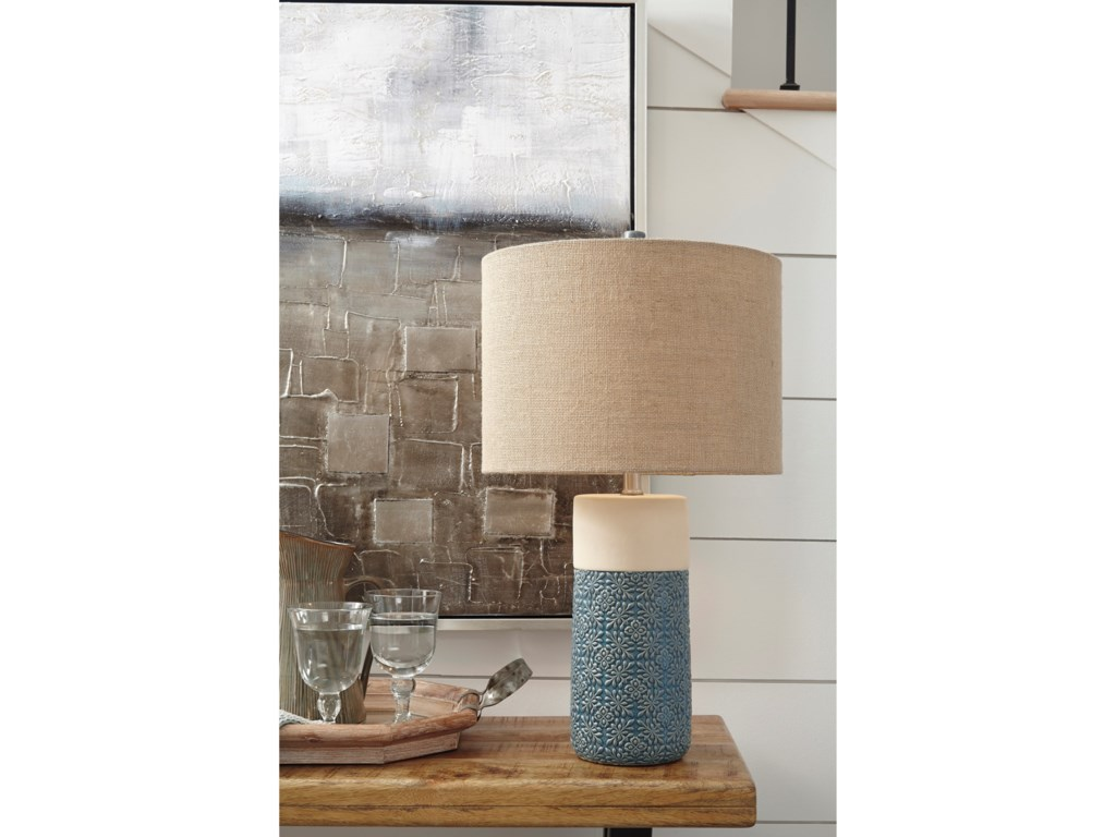 Signature Design by Ashley Lamps - CasualSet of 2 Evalyn Green Ceramic Table Lamps