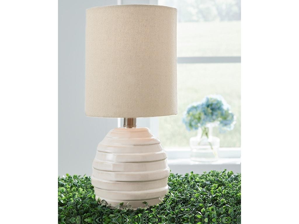 Signature Design by Ashley Lamps - CasualGlennwick White Ceramic Table Lamp