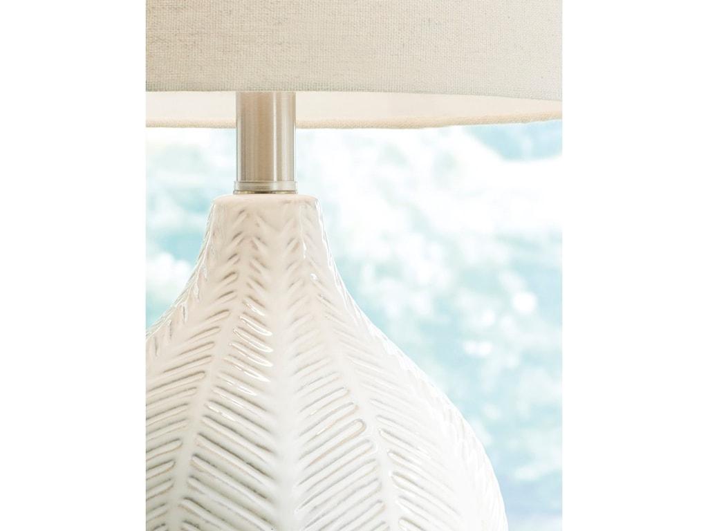 Signature Design by Ashley Lamps - CasualRainermen Off White Table Lamp