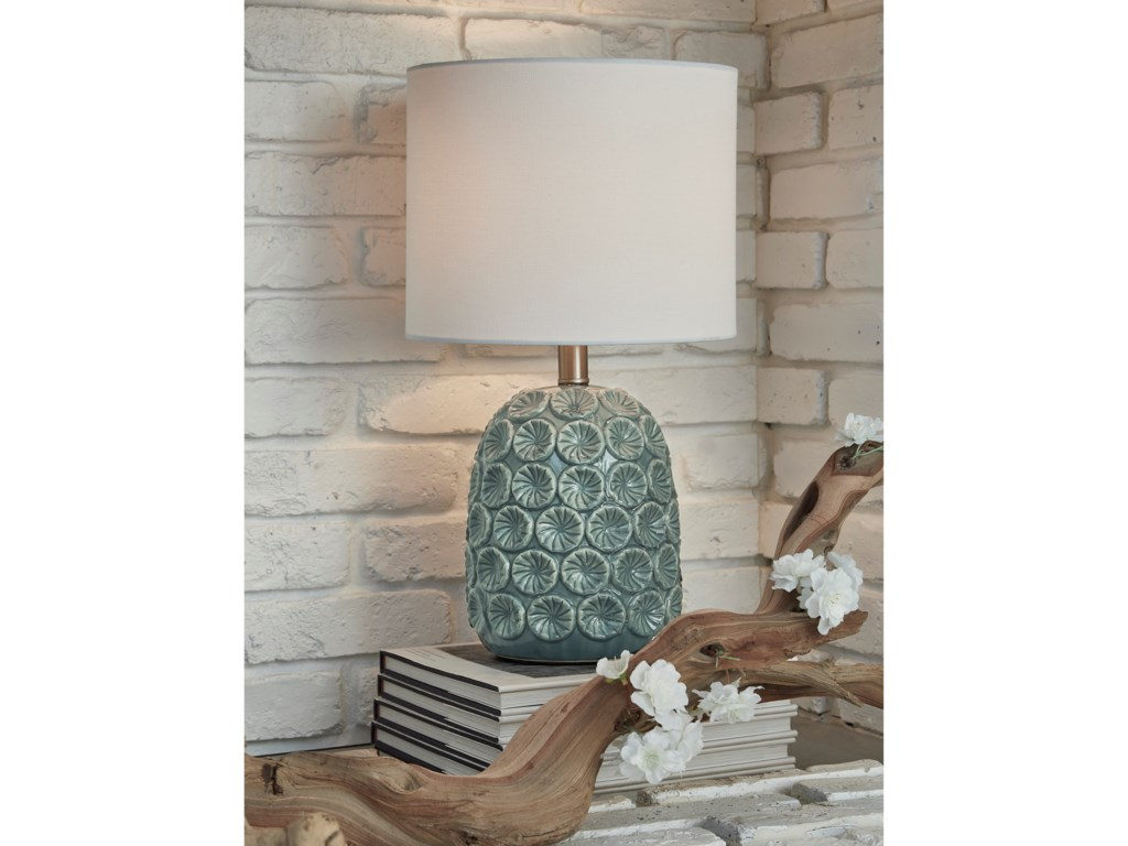 Signature Design by Ashley Lamps - CasualMoorbank Teal Ceramic Table Lamp