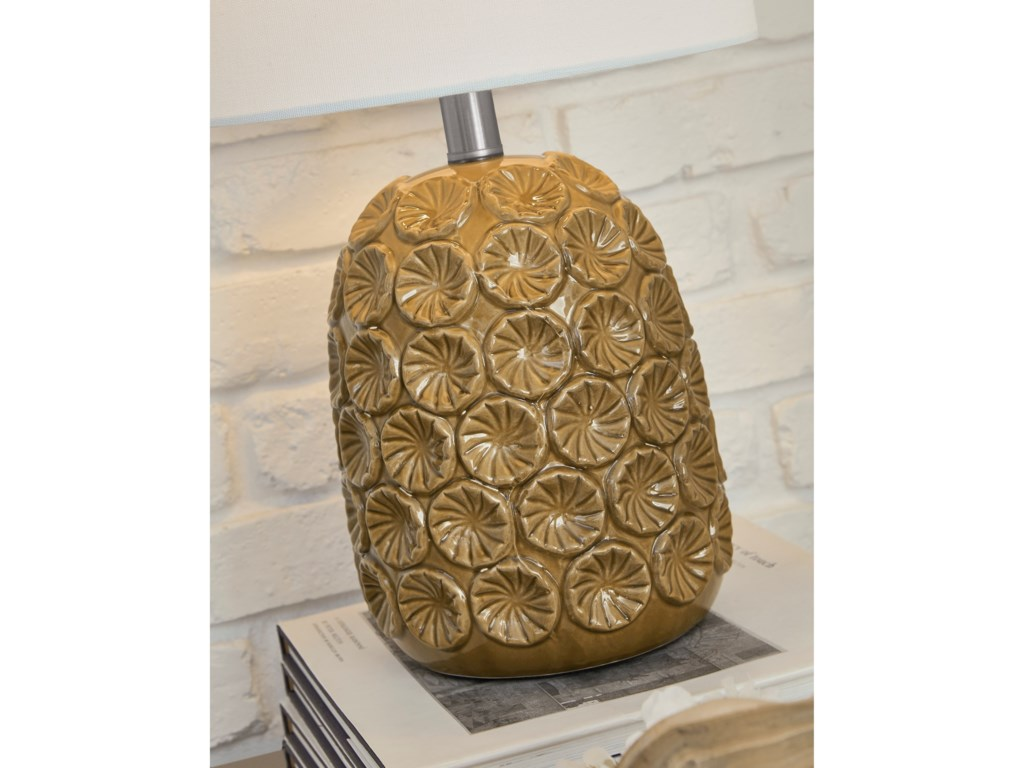Signature Design by Ashley Lamps - CasualMoorbank Amber Ceramic Table Lamp