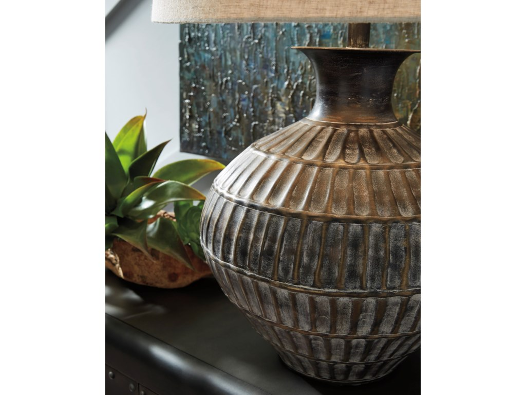 Signature Design by Ashley Lamps - CasualMagan Antique Bronze Finish Metal Table Lamp
