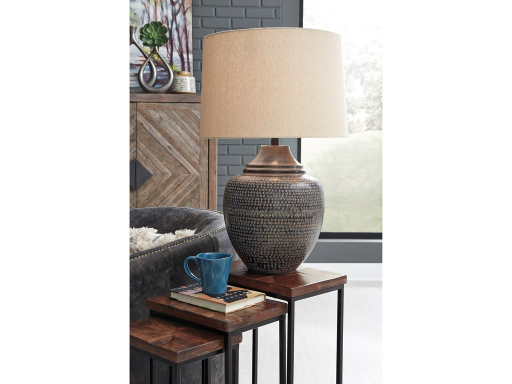 Signature Design by Ashley Lamps - CasualOlinger Brown Metal Table Lamp