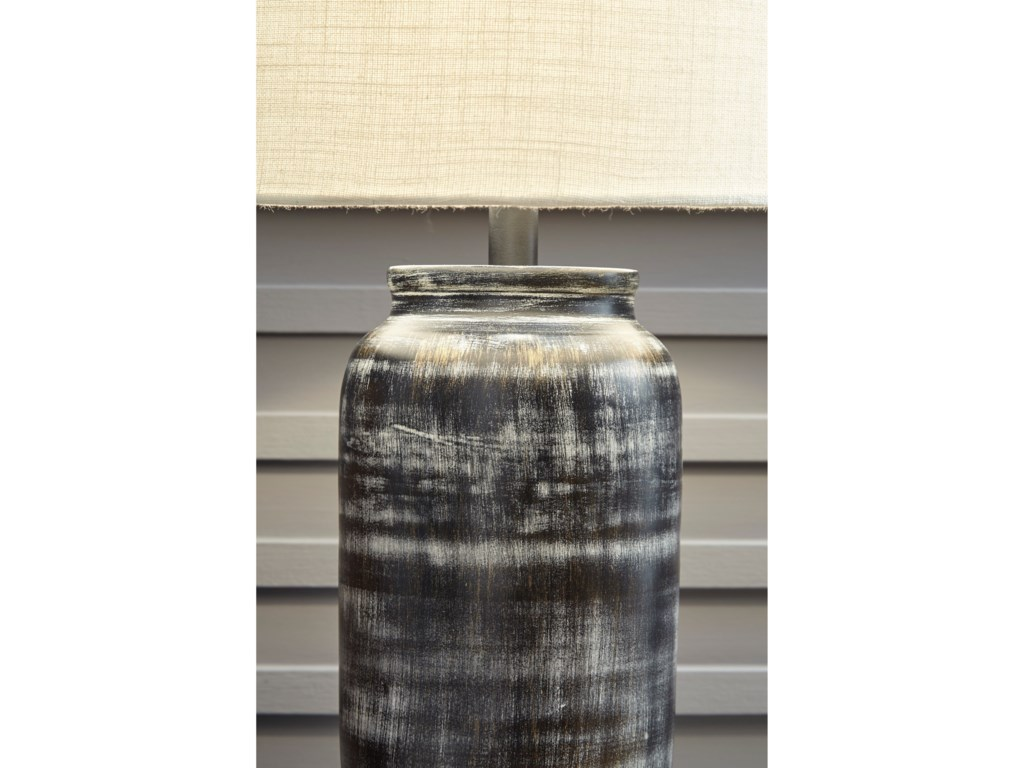 Signature Design by Ashley Lamps - CasualMandelina Black Metal Table Lamp