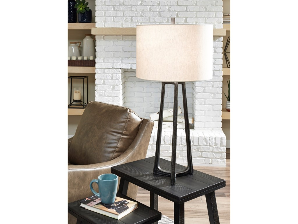 Signature Design by Ashley Lamps - CasualPeeta Antique Pewter Finish Metal Table Lamp