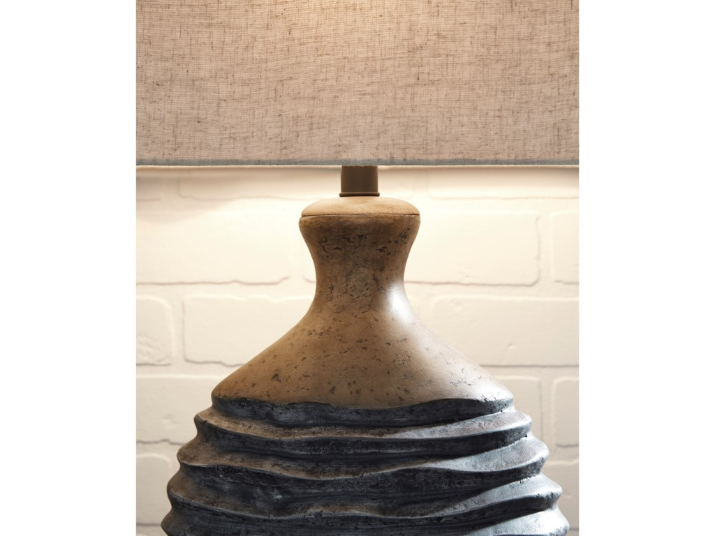 Signature Design by Ashley Lamps - CasualMedlin Gray/Beige Paper Table Lamp
