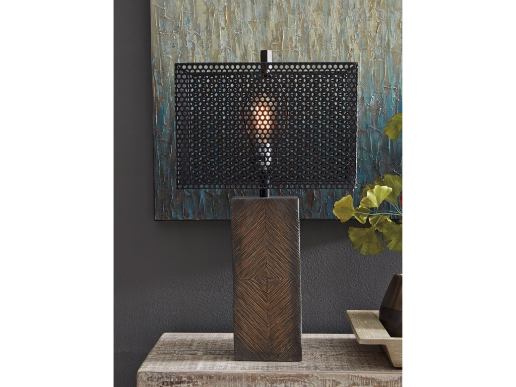 Signature Design by Ashley Lamps - CasualBriek Brown Paper Table Lamp