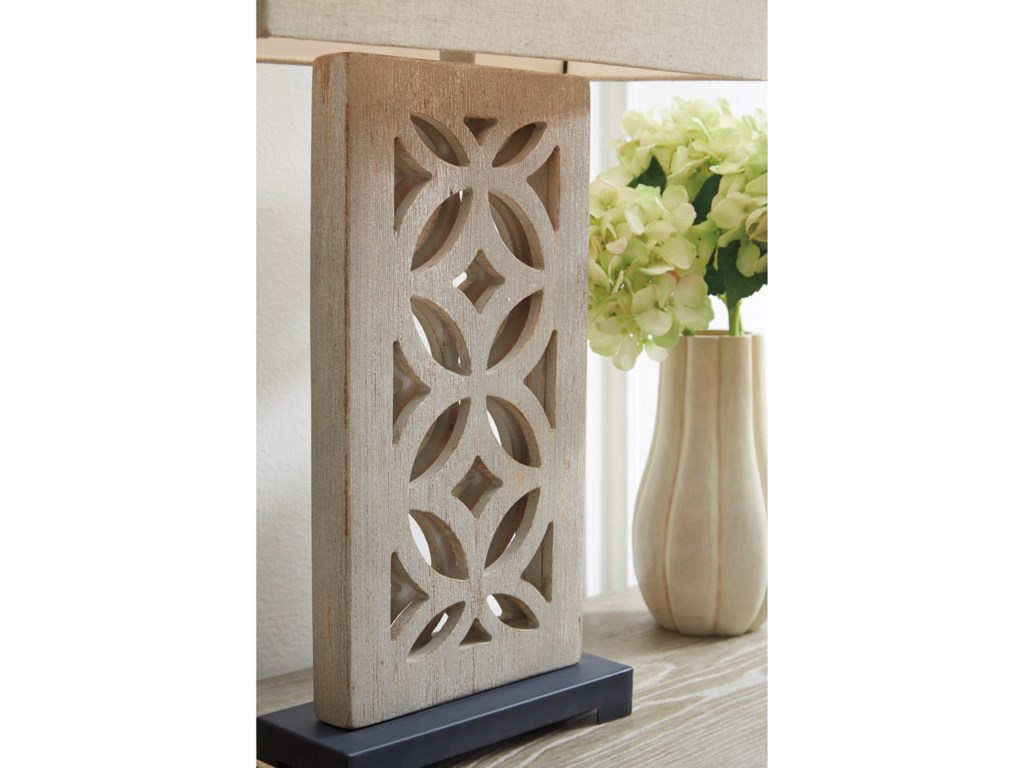 Signature Design by Ashley Lamps - CasualMairwen Antique Gray Wood Table Lamp