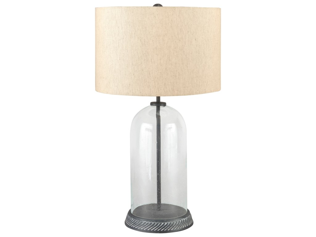 Lamps Casual Manelin Clear Gray Gl Table Lamp By Signature Design Ashley