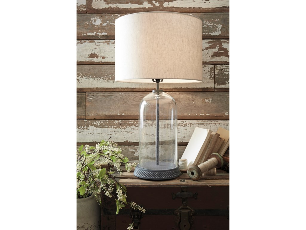 Signature Design by Ashley Lamps - CasualManelin Clear/Gray Glass Table Lamp