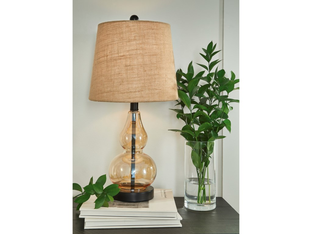 Signature Design by Ashley Lamps - CasualMakana Champagne/Black Glass Table Lamp