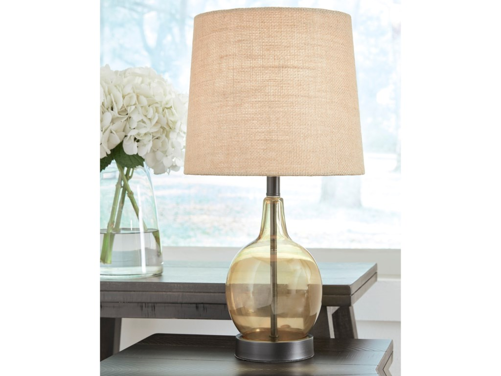 Signature Design by Ashley Lamps - CasualArlomore Amber Glass Table Lamp