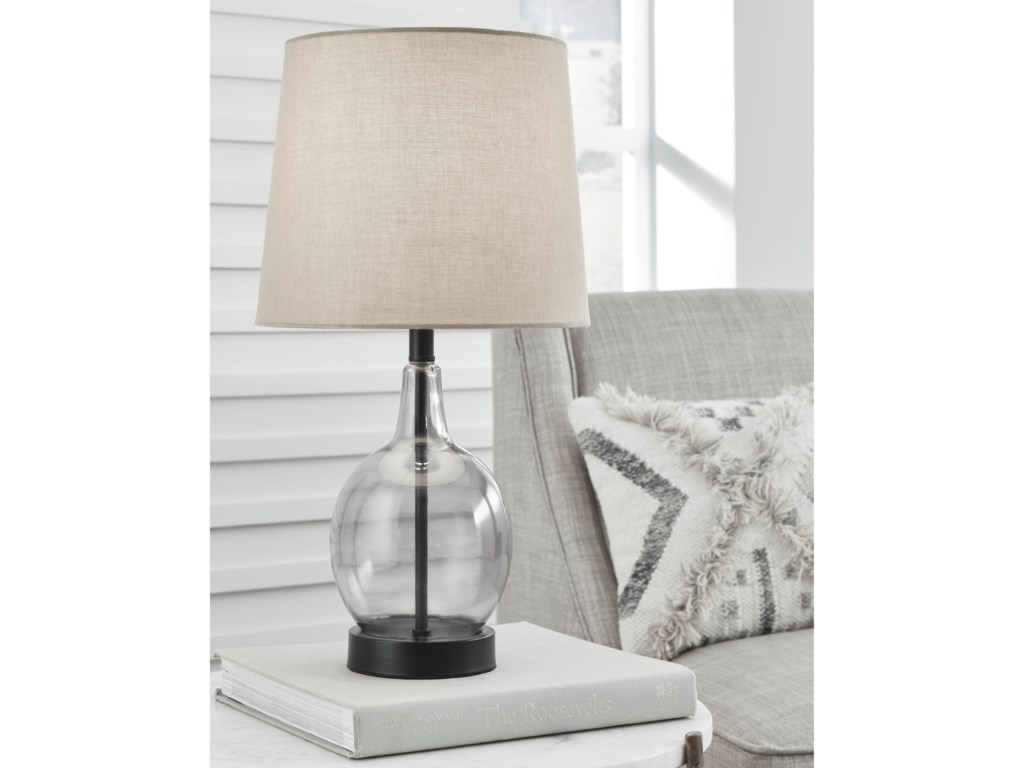 Signature Design by Ashley Lamps - CasualArlomore Gray Glass Table Lamp