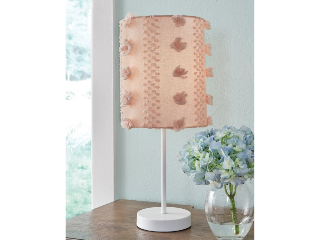 Signature Design by Ashley Lamps - CasualKaelene Pink/White Metal Table Lamp