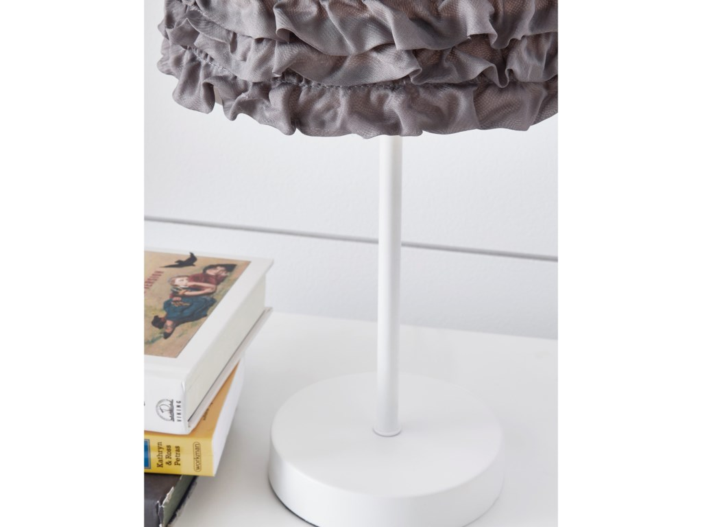 Signature Design by Ashley Lamps - CasualMirette Gray/White Metal Table Lamp
