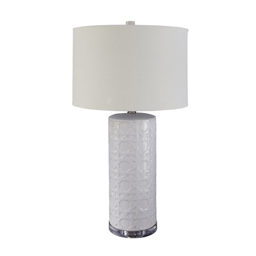 Signature Design by Ashley Lamps - Contemporary Solena White Ceramic Table Lamp