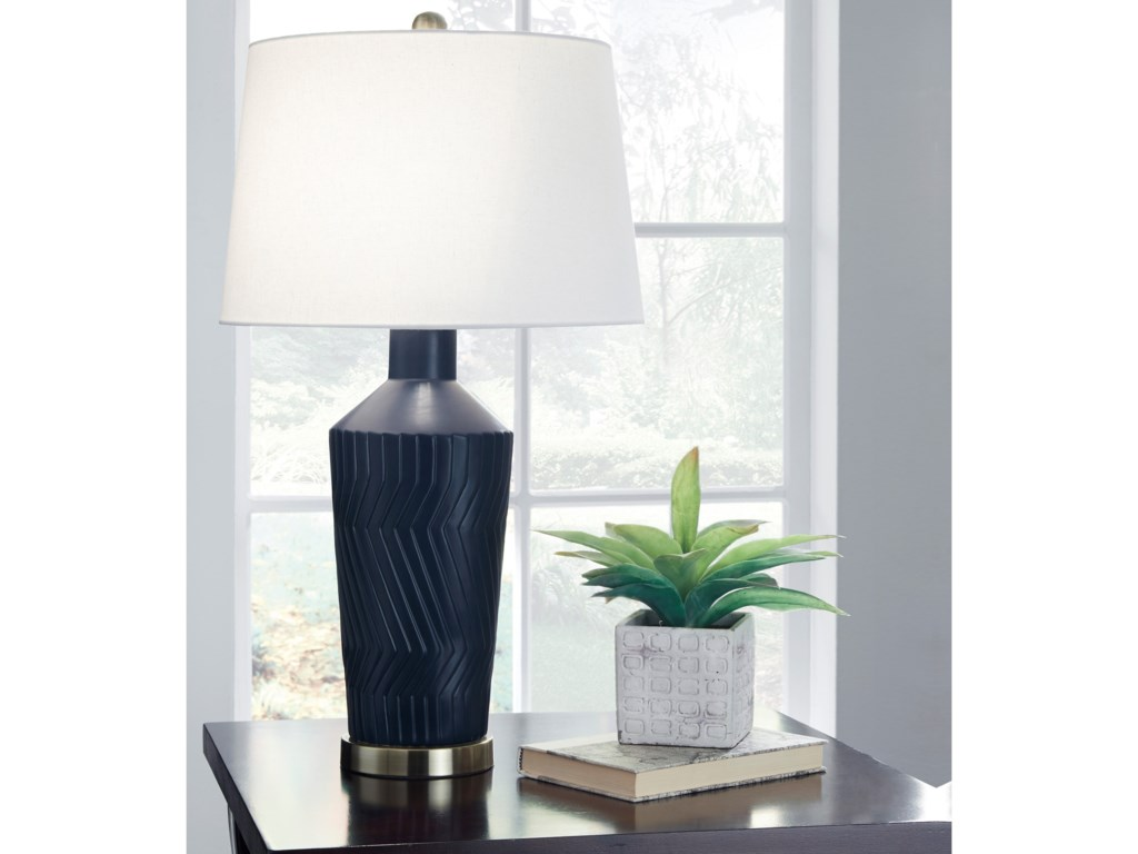 Signature Design by Ashley Lamps - ContemporarySet of 2 Leroi Blue Ceramic Table Lamps