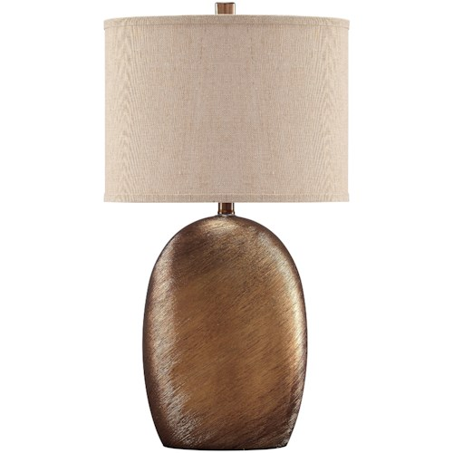 Signature Design by Ashley Lamps - Contemporary Lewelyn Copper Finish Ceramic Table Lamp