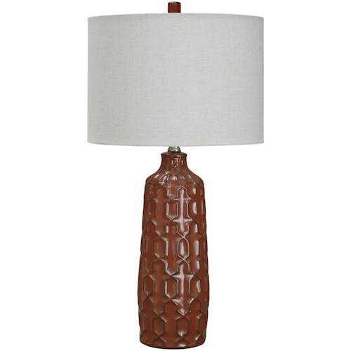 Signature Design by Ashley Lamps - Contemporary Set of 2 Mab Burnt Orange Ceramic Table Lamps