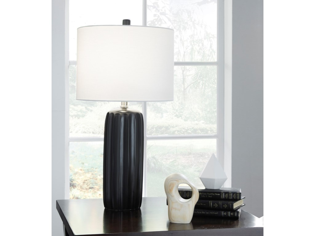 Signature Design by Ashley Lamps - ContemporarySet of 2 Adorlee Black Ceramic Table Lamps
