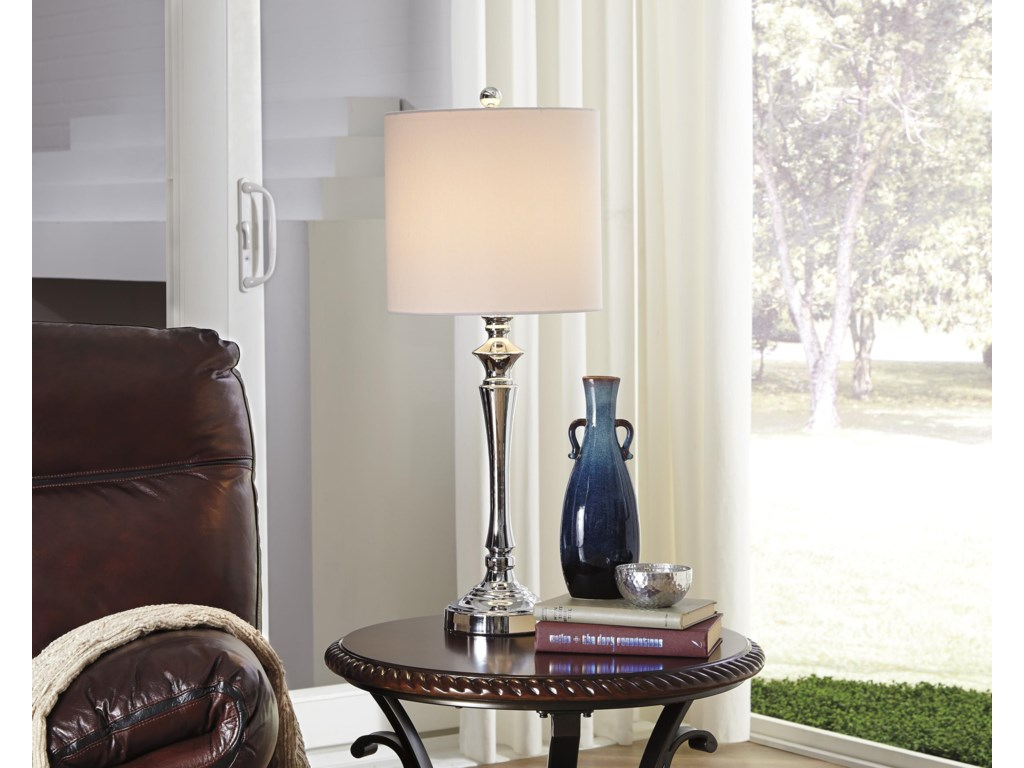 Signature Design by Ashley Lamps - ContemporarySet of 2 Taji Metal Table Lamps