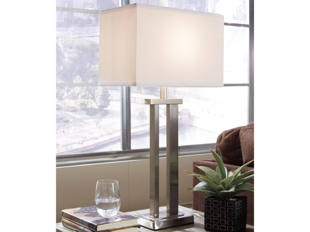 Signature Design by Ashley Lamps - ContemporarySet of 2 Aniela Metal Table Lamps