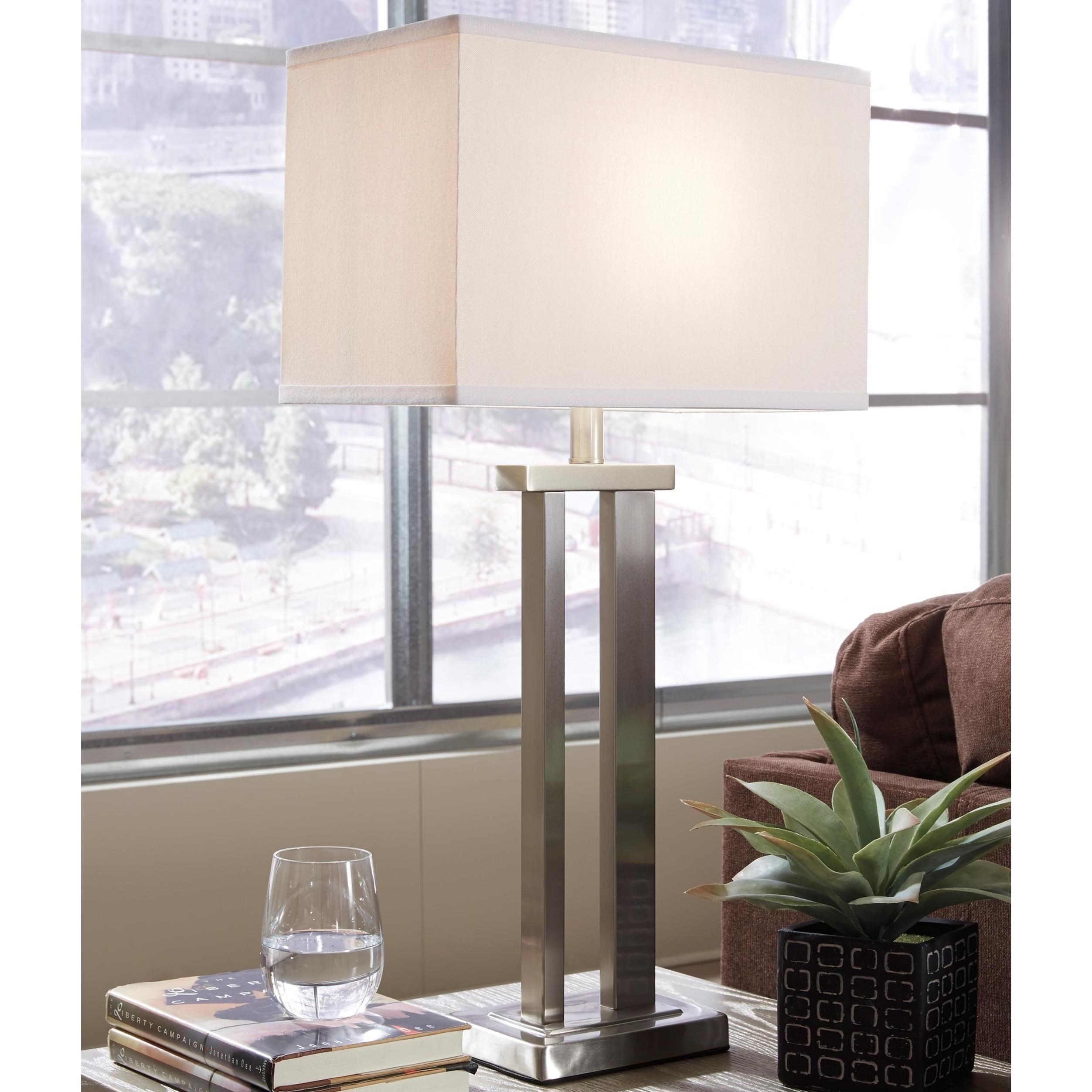 Signature Design By Ashley Lamps   Contemporary Set Of 2 Aniela Metal Table  Lamps