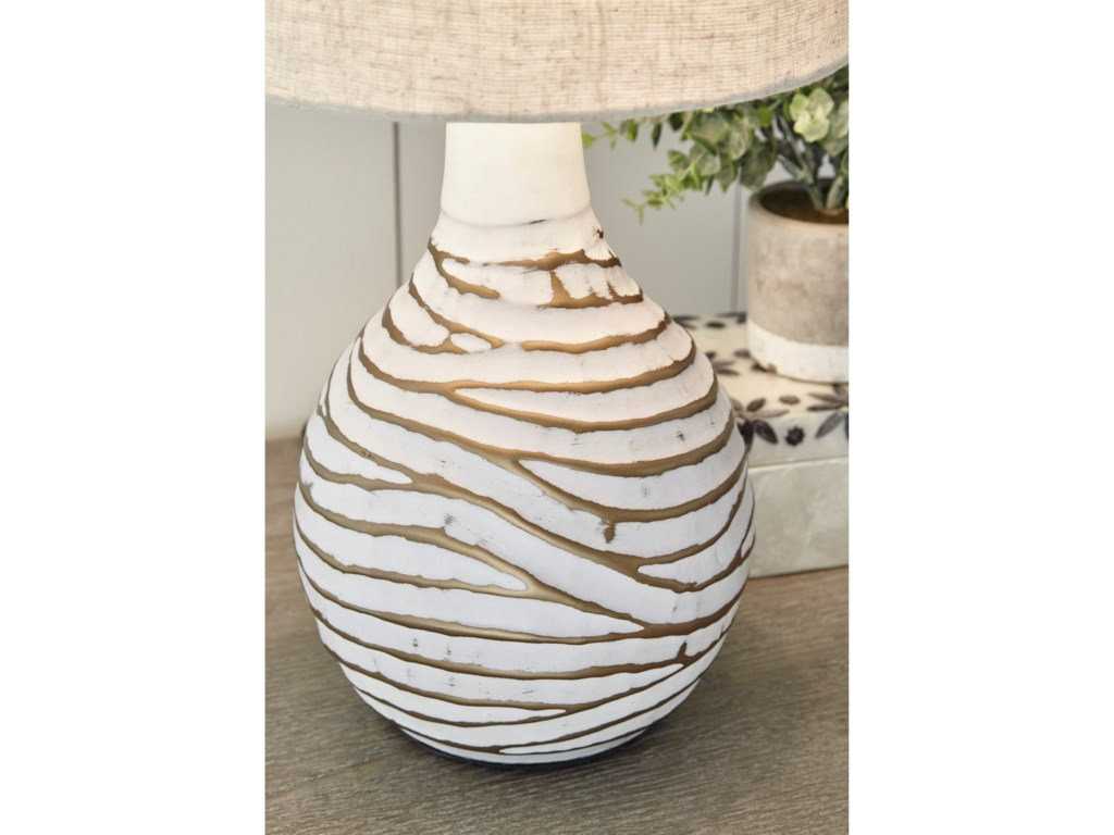 Signature Design by Ashley Lamps - ContemporaryAleela White/Gold Table Lamp