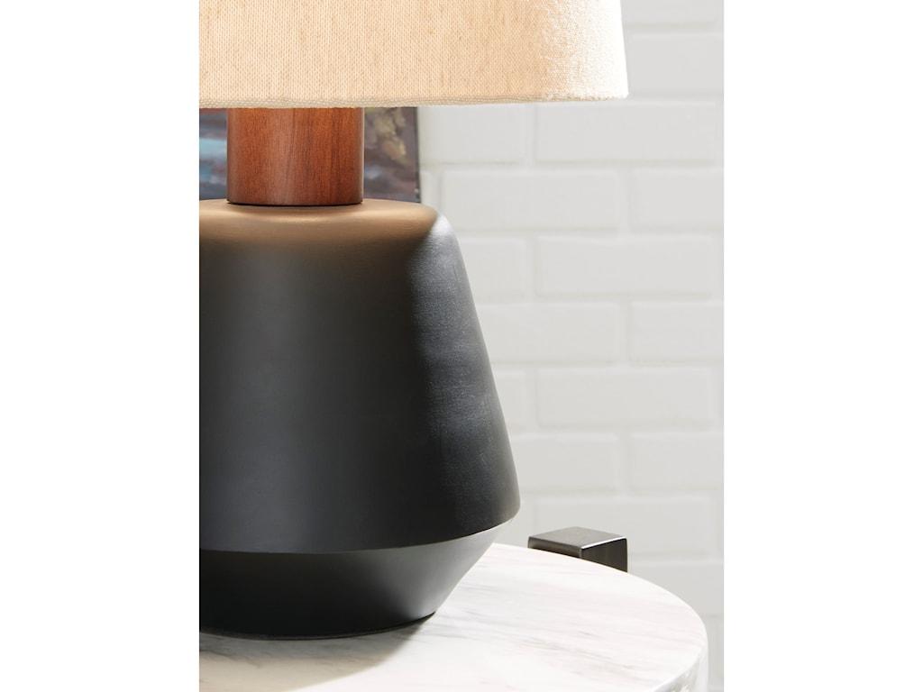 Signature Design by Ashley Lamps - ContemporaryAncel Black/Brown Metal Table Lamp