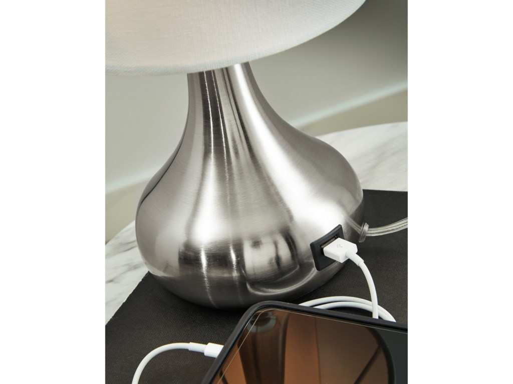Signature Design by Ashley Lamps - ContemporaryCamdale Silver Finish Metal Table Lamp
